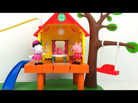 La casa del arbol de peppa pig y la fortaleza de george suzy sheep richard rabbit con tirolina - Peppa pig la casa del arbol ...
