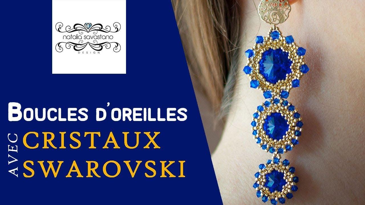 TUTO BIJOU DIY | Bracelet avec des toupies Swarovski en tissage ...