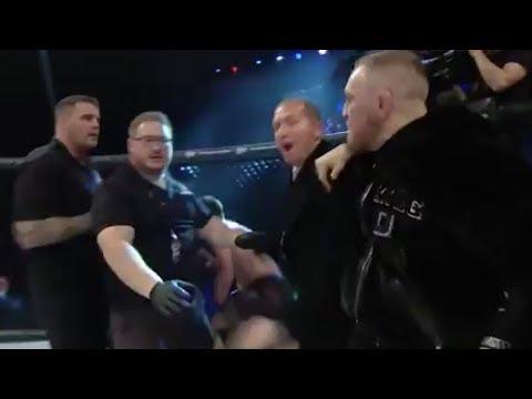 Conor McGregor RUSHES Bellator Cage, SHOVES Referee!