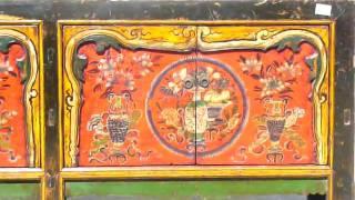 Mongolian Antiques Flower Vase Long Buffet Table Wk990