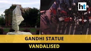 Watch: Mahatma Gandhi statue vandalised in Washington DC, US apologises