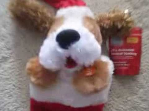 Adorable Animated Christmas Dog Musical Stocking