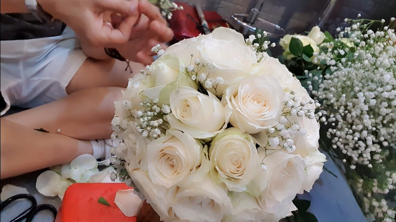 Tự làm hoa cưới đẹp – ĐẸP ĐƠN GIẢN với bó hoa hồng trắng điểm baby, by Nguyễn Tâm
