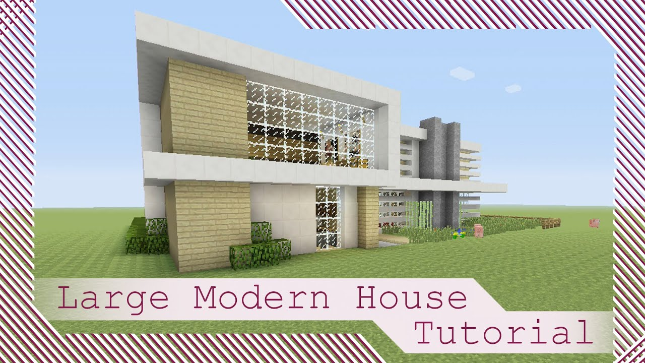 Large modern house tutorial 1 minecraft xbox playsta for Big modern house tutorial