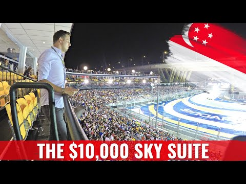 FORMULA 1 RACE SINGAPORE in a $14,000 SKY SUITE + Verstappen Crash