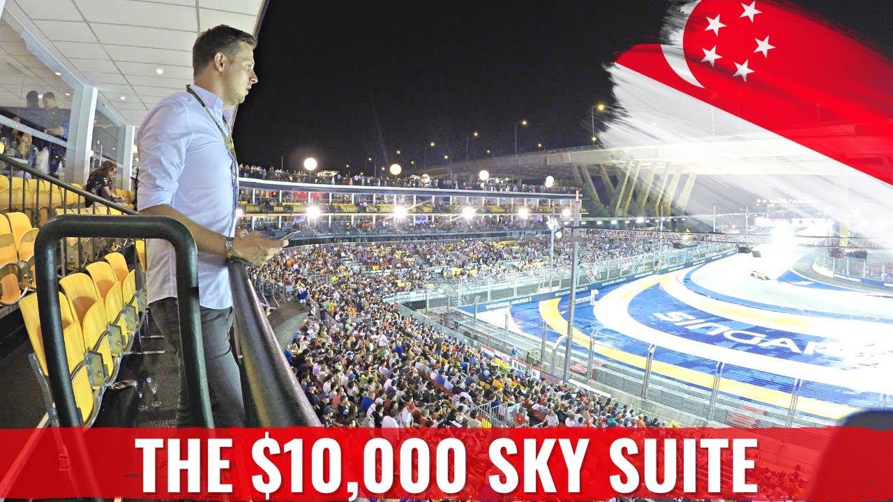 FORMULA 1 RACE SINGAPORE in a $14,000 SKY SUITE + Verstappen Crash