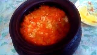 гороховый суп в горшке  в духовке