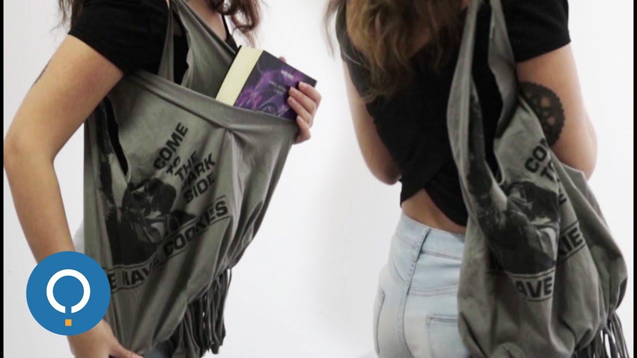 diy faire un sac avec un vieux t shirt youtube. Black Bedroom Furniture Sets. Home Design Ideas