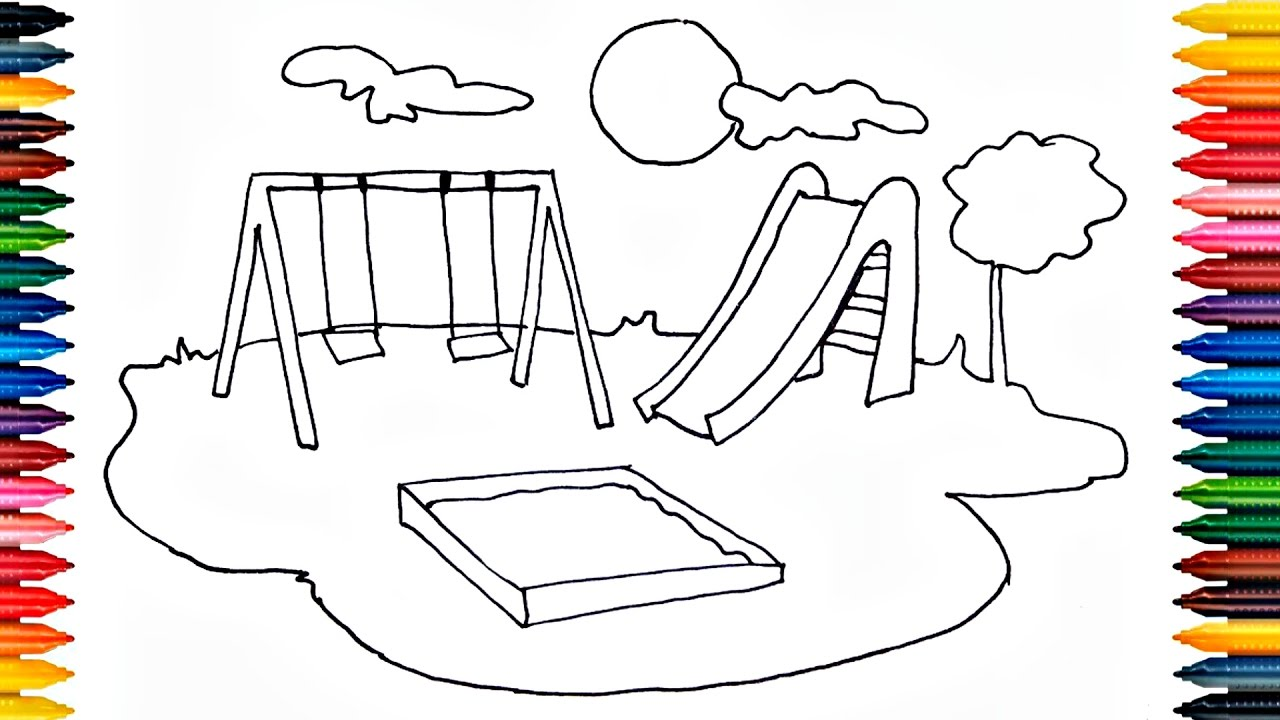 Drawing Playground Outdoor How To Draw Playground And Painting With Playground For Kids Youtube