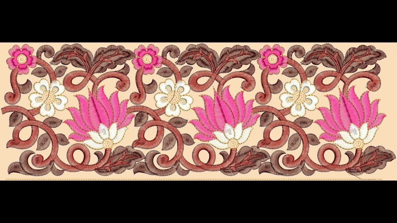 Rose flower lace border embroidery designs youtube