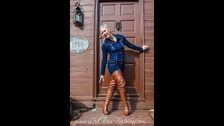 RUSTIC TIMBER LEATHER PLATFORM THIGH BOOTS OUT ON THE STREET