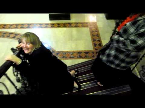 WOOOOPSSSS - JOAN SIMS LOOK-A-LIKEY SLIPS DOWN STAIR CASE AT CHRISTMAS SHIN-DIG