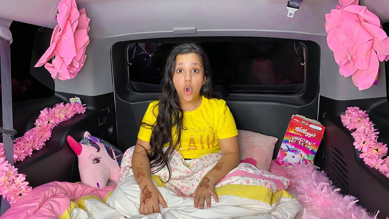 شفا نامت في سيارة - تحدي 24 ساعة في السيارة  24Hours Challenge in Car