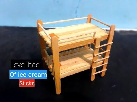 Ide Kreatif Membuat Miniatur Tempat Tidur Tingkat Dari Stik Es Krim