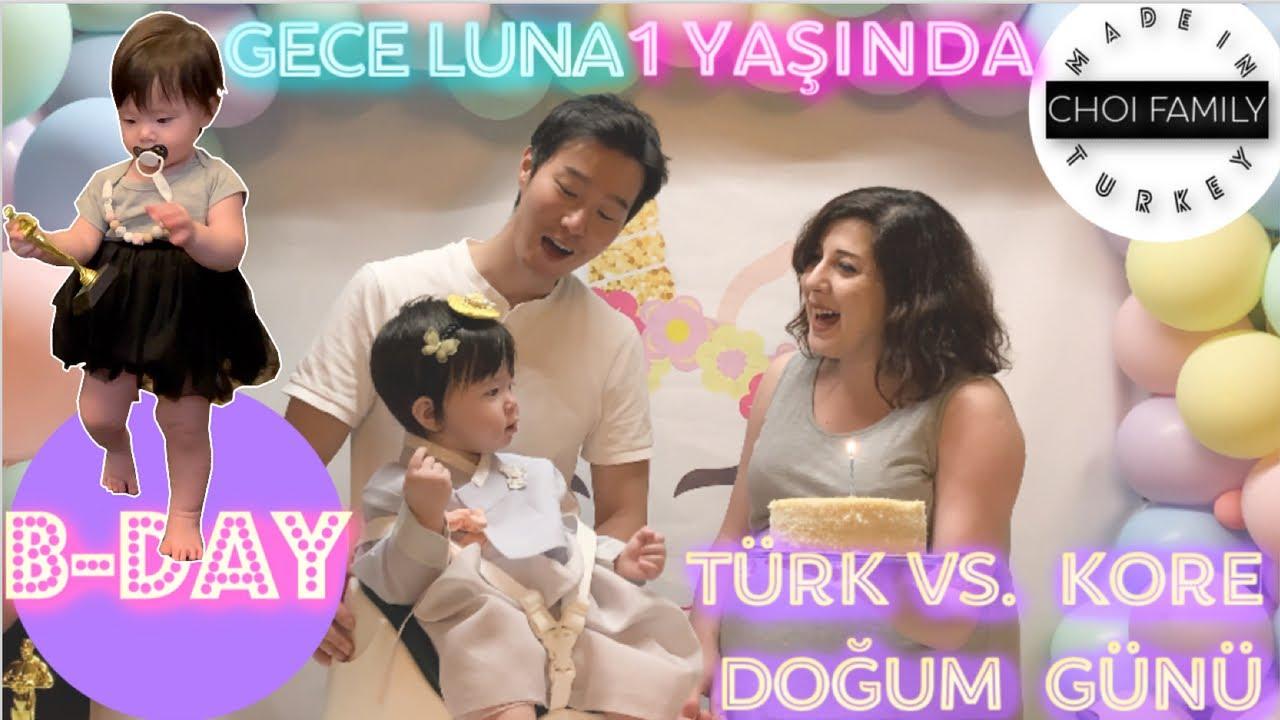 GECE LUNA 1 YAŞINDA⎟Kore vs. Türk Doğum Günü⎟1st birthday⎟ 국제커플 [Choi Family #84]