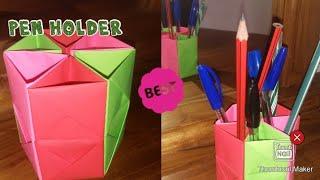 How to Make easy pen holder   origaMi paper work  paper  easy work