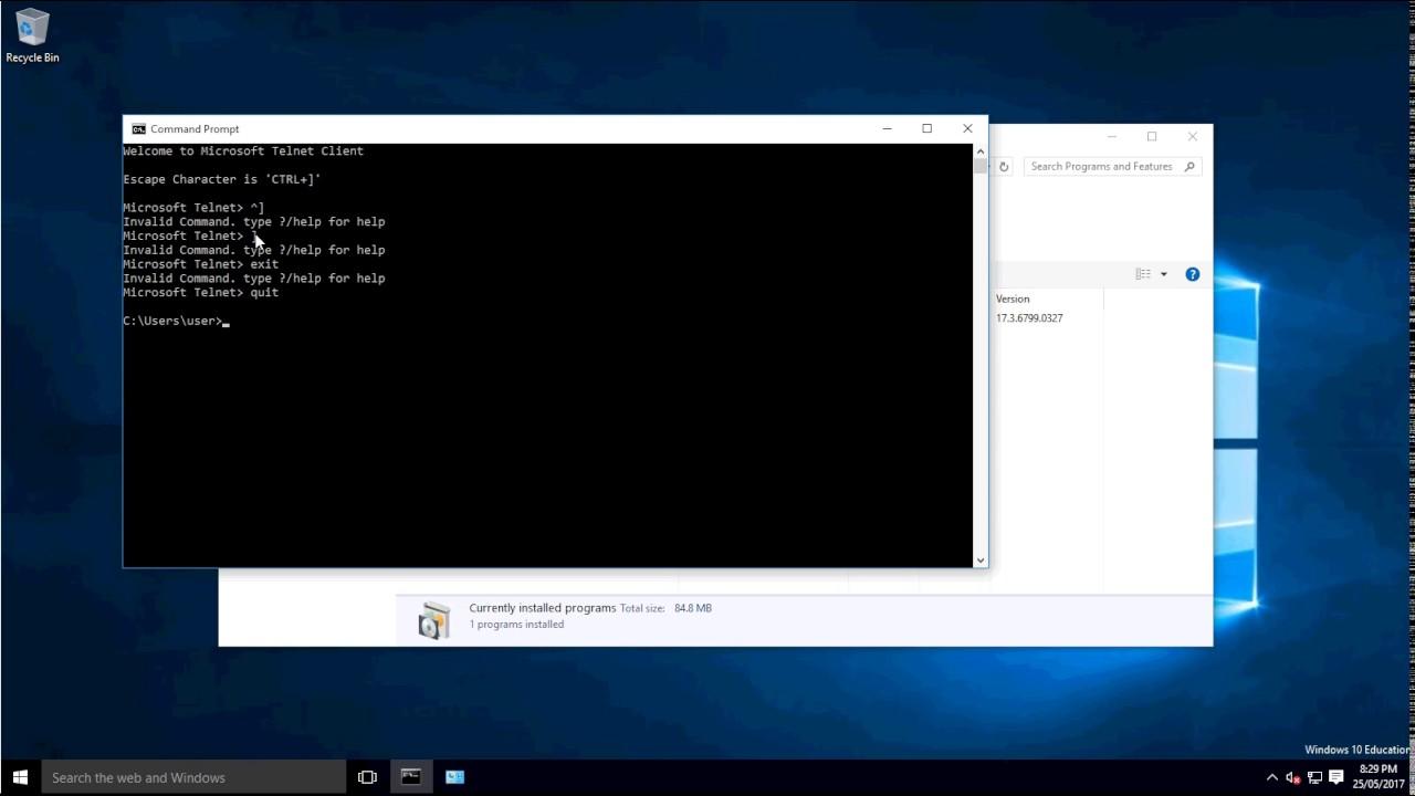 How to install telnet on Windows 10