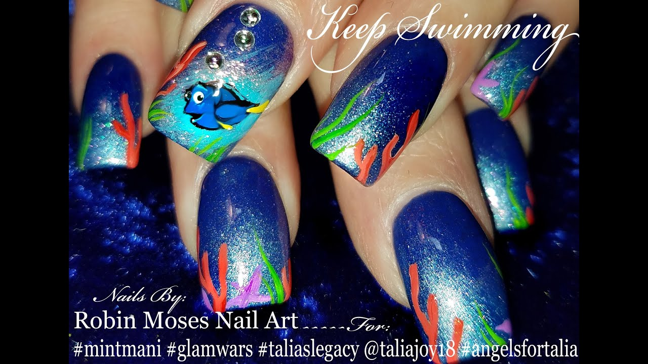 Finding dory nails mint mani 2016 nail art design tutorial youtube prinsesfo Image collections