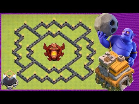 Clash Of Clans   New EPIC Th7 Hybrid Trophy Base (Farming Loot) Protect DE - Get Barb King Fast!