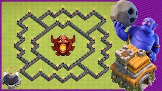 Clash Of Clans | New EPIC Th7 Hybrid Trophy Base (Farming Loot) Protect DE - Get Barb King Fast!
