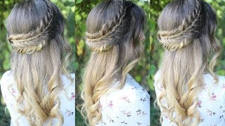 Romantic Half Up Stacked Braid Hairstyle | Half Up Hairstyles | Braidsandstyles12