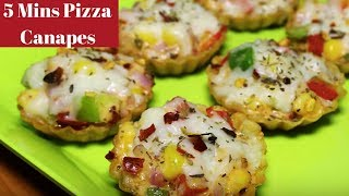 Pizza Canapes Bites | Quick and Easy Party Appetizers | Mini Pizza Recipe for Kids