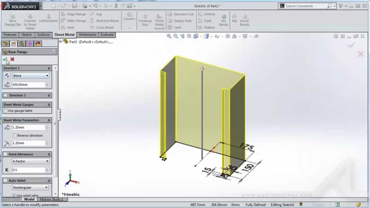 Basic การใช้งาน Solidworks Sheetmetal การเขียนตู้คอนโทรล