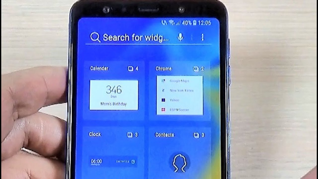 Samsung Galaxy A7 & A9 (2018) - How to Add a Widget (Weather & Clock) on  Home Screen