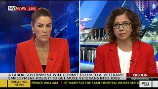 Sky News with Peta Credlin - 23 April 2018 - Veterans Employment , Sir John Monash Centre Policy