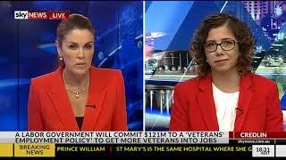 Sky News with Peta Credlin - 23 April 2018 - Veterans Employment , Sir John Monash Centre Policy