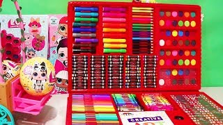 Giant Coloring Set ! Toys and Dolls Fun for Kids Opening Blind Bags & Speed Coloring | SWTAD