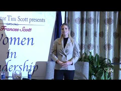 Sen. Tim Scott talks with Ivanka Trump during Women in Leadership event