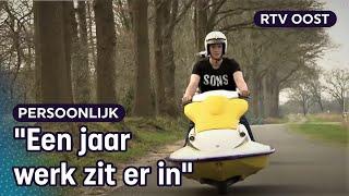 Zelfgebouwde jetski-scooter trekt veel bekijks op brommermeeting in Lemelerveld