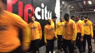 Golden State Warriors (2-0) pregame tunnel run, warmups, and intros v Portland Trail Blazers, Game 3