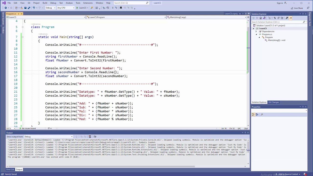 C# Tutorial - User Input & Basic Operations