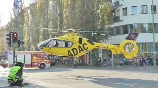 [Christoph 15 in München] Landung/Start auf Münchner Goetheplatz + Absperrung durch BF/Polizei