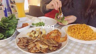 Eng) vlog 삼겹살 혼밥파티하는 캐나다 집순이 일…