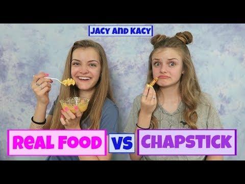 Real Food vs Chapstick Challenge ~ Jacy and Kacy