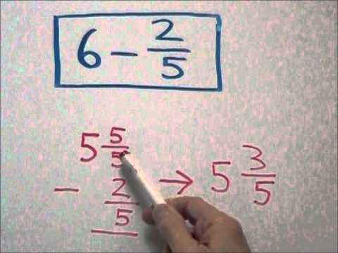 Subtracting a Fraction From a Whole Number - YouTube