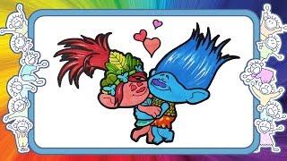 Тролли - Розочка и цветан - Веселые раскраски - Как нарисовать Розочку и Цветана - уроки рисования