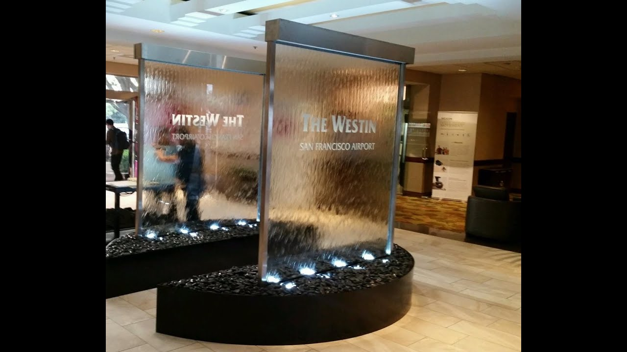 custom glass waterfall walls at westin hotel at san