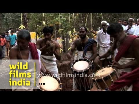 Chenda percussionists during Theyyam festival