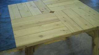 Log Parquet Table - Outdoor Log Furniture At Logfurnitureplace.com