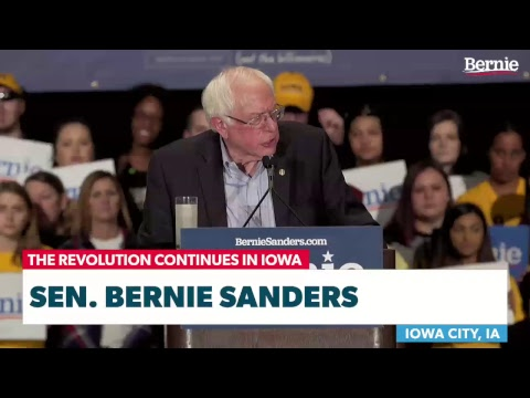 Bernie Rallies Supporters in Iowa City