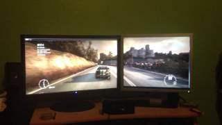 Mr B trying out his driving skills on Grid 2, Dual monitor, GTX 560 Ti
