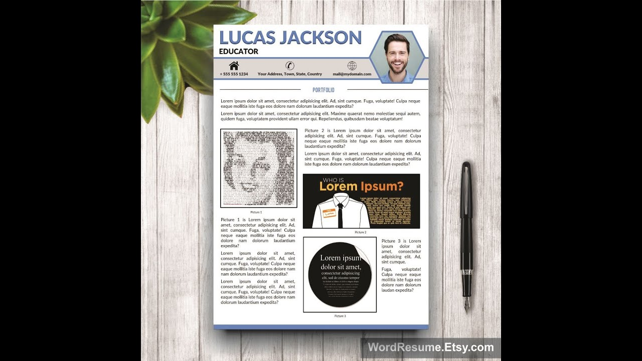 CV Design With Portfolio U0026 Cover Letter   Word Template   YouTube  Portfolio Word Template