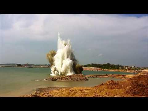 【壯觀】 海上爆破工程 【EPOCH】offshore blasting