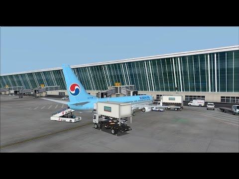 fsx Korean air 876 Shanghai to Busan on vatsim busy traffic,pmdg 737ngx,fs2crew