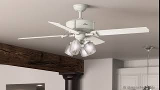 "Hunter 54178 WiFi 60"" Brunswick Fresh White Ceiling Fan with Light and Handheld Control System"