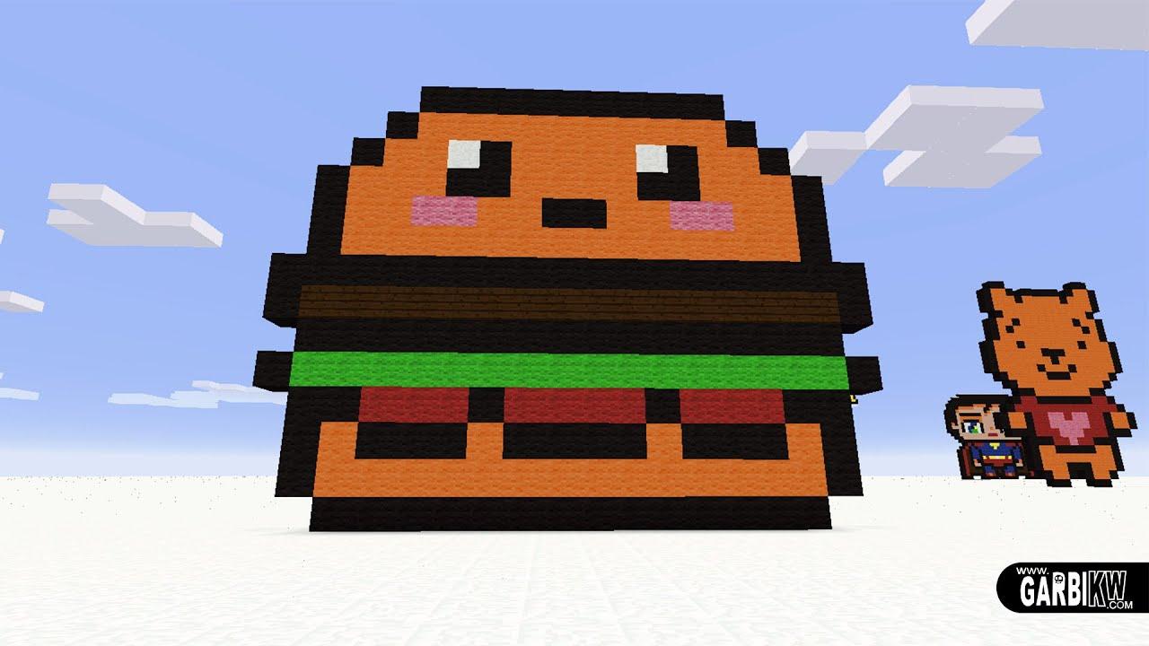 Minecraft Pixel Art How To Make A Kawaii Hamburger Pixelart